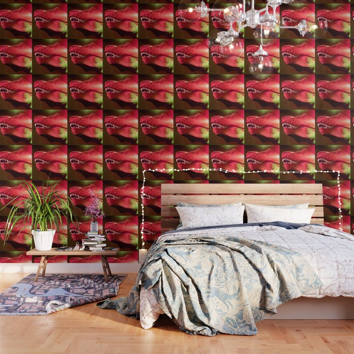 T-Rex Disco King Green & Strawberry Red Wallpaper