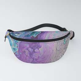 Purple Fluid Acrylic Abstract Painting - Slow Down  III Fanny Pack