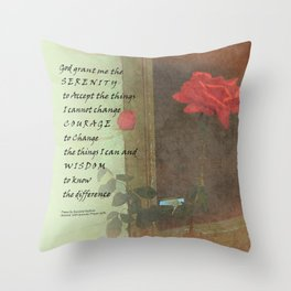 Serenity Prayer Rose and Door Throw Pillow