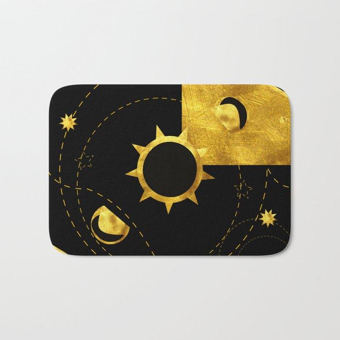 Solar Eclipse black gold Bath Mat