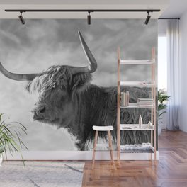 Highland Cow Black and White Profile Sky Wall Mural