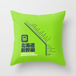 Hokkaido Shinkansen Train Station List Map - Lime Throw Pillow