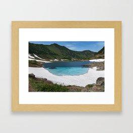 Stunning summer mountain landscape: Blue Lake, green forest on hillsides, blue sky on sunny Framed Art Print
