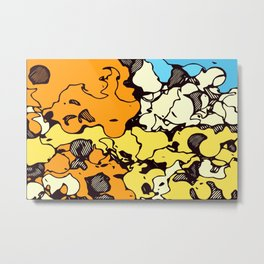 psychedelic graffiti drawing and painting in orange yellow and blue Metal Print