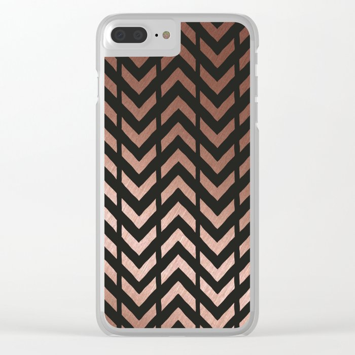 Rose gold and black chevron Clear iPhone Case