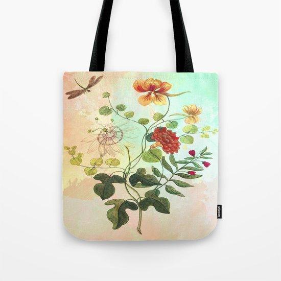 Simply Divine, Vintage Botanical Illustration Pastels Watercolors Flowers Dragonfly Tote Bag
