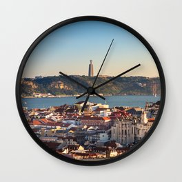 View of Lisbon, Portugal from Miradouro da Senhora do Monte Wall Clock