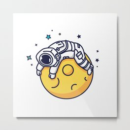 Lazy Astronaut Metal Print