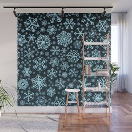 Blue Snowflake Background Wall Mural
