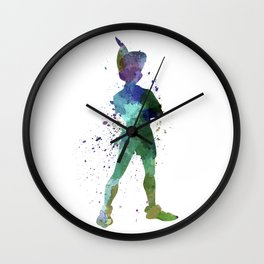 Peter Pan in watercolor Wall Clock
