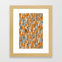 joyful feathers orange Framed Art Print