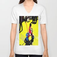 cycling V-neck T-shirts featuring Cycling by lookiz