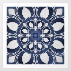 Spanish Flower in Blue Art Print