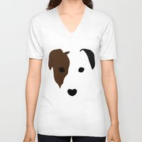 terrier V-neck T-shirts featuring Russell Terrier by Dizzy Moments