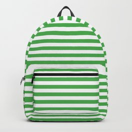 Even Horizontal Stripes, Green and White, S Backpack