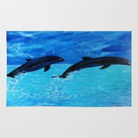 dolphins Area & Throw Rugs featuring Jumping Dolphins by maggs326