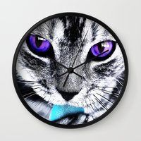 thundercats Wall Clocks featuring Purple eyes Cat by Augustinet