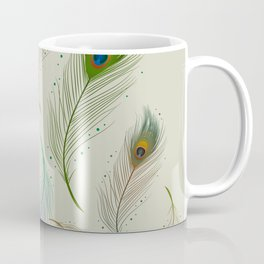 Colorful Realistic Peacock Feather Pattern Coffee Mug
