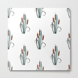 Seamless pattern with bushes of reed Metal Print