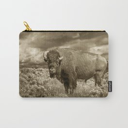 American Buffalo in Sepia Tone Carry-All Pouch