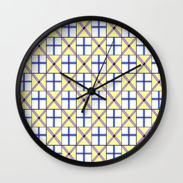 symetric tartan and gingham 1 -vichy, gingham,strip,square,geometric, sober,tartan Wall Clock
