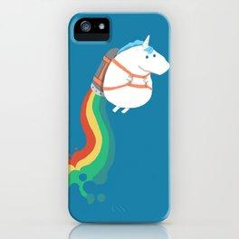 Unicorn rainbow rocket iPhone Case