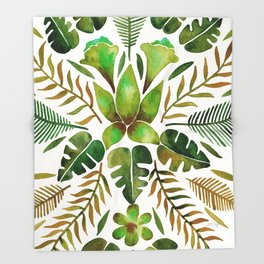 Tropical Symmetry – Olive Green Throw Blanket