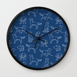 Golden Retriever Pattern (Navy and White) Wall Clock