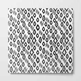 Linocut black and white minimalist mud cloth tribal pattern primitive mark making Metal Print