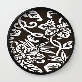 Espresso Brown Japanese Leaf Pattern Wall Clock