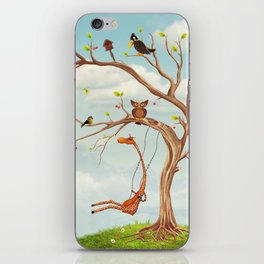 Tree with animals.Bunch of cute little creatures gathered on the branches of tree iPhone Skin