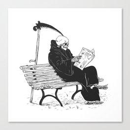 Grim reaper reading newspaper - cartoon skeleton - dark skull Canvas Print