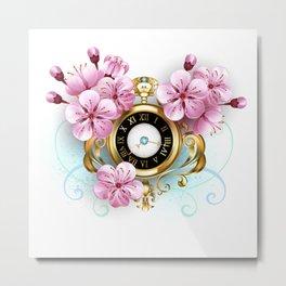 Sakura Watch Metal Print