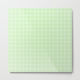 Tea green - heavenly color - White Lines Grid Pattern Metal Print