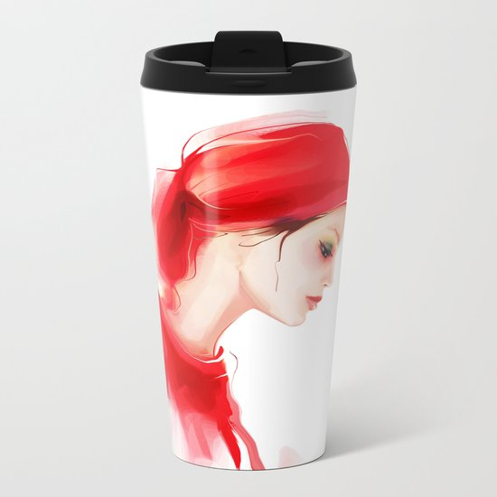 lady in  red Metal Travel Mug