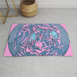 Abstract Circle / Pink Background  Rug