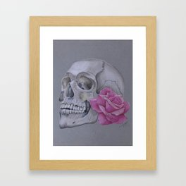Skull with pink rose Framed Art Print