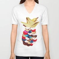 pineapples V-neck T-shirts featuring Twin Pineapples by Lumikka