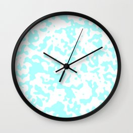 Spots - White and Celeste Cyan Wall Clock