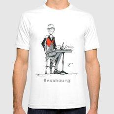 A Few Parisians: Beaubourg by David Cessac White MEDIUM Mens Fitted Tee