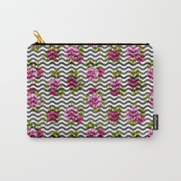 Neon pink green white black geometrical chevron floral Carry-All Pouch