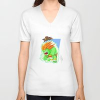 street fighter V-neck T-shirts featuring STREET FIGHTER - BLANCA by mirojunior