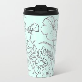 Dotted Floral Scroll in Mint and Grey Travel Mug