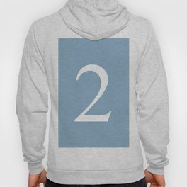 number two sign on placid blue color background Hoody