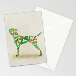 Hungarian Vizsla Dog Typography Art / Colorful Watercolor Painting - Portrait Stationery Cards