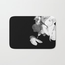 White Orchids Black Background Bath Mat
