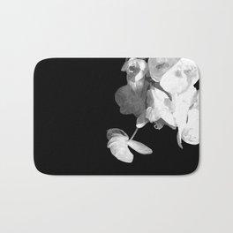 White Orchids Black Background Bath Mat