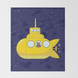 Yellow submarine in deep sea with a cat and bubbles Throw Blanket