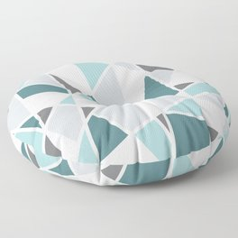 Geometric Pattern in teal and gray Floor Pillow