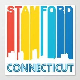 Retro 1970's Style Stamford Connecticut Skyline Canvas Print